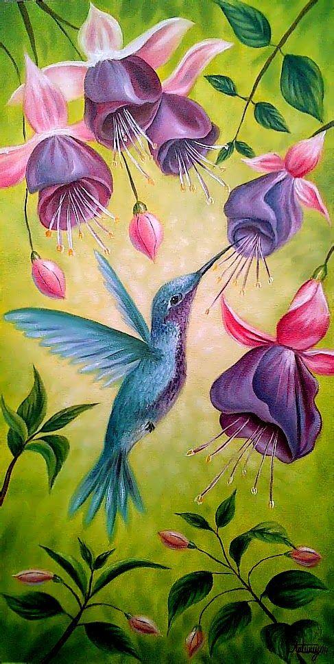 ARTISTA PINTOR: Flores fucsias y Colibri