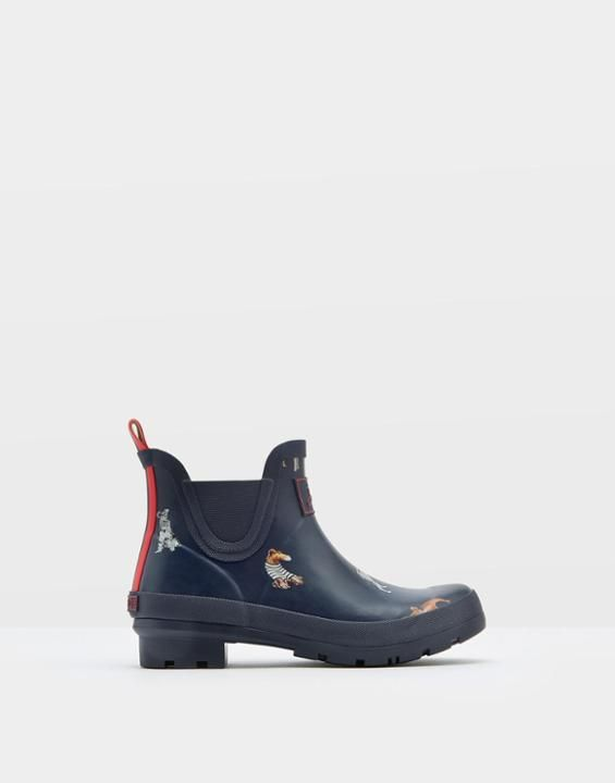Joules US WELLIBOB Womens Short Rain Boots French Navy Chic Dogs