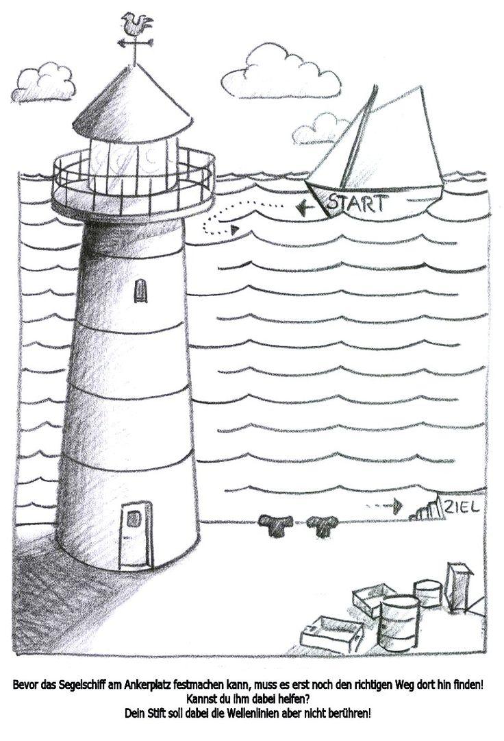 Fijne motoriek, trek een lijn tussen de golven door naar de vuurtoren, free printable / arbeitsblatt_segelschiff