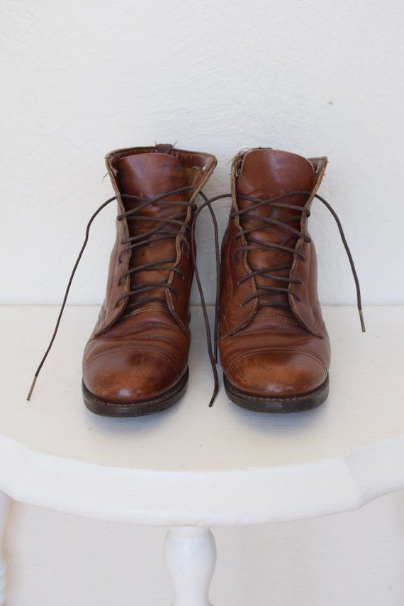 d82f11d9cf464 Vintage Distressed Lace Up Brown Leather Ankle Boots Womens Size 6 ...