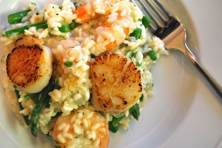 ... spring dinner! Lemon #Asparagus #Risotto with #Shrimp and #Scallops