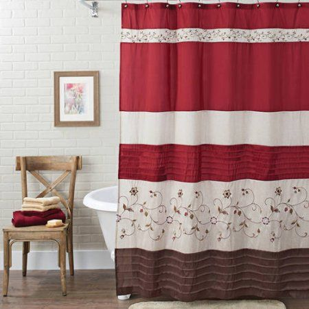 Better Homes And Gardens Floral Embroidered Shower Curtain Red