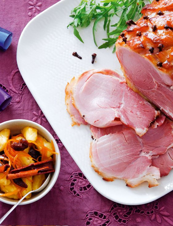 Sugar-glazed gammon with spiced pineapple and orange relish - Sainsbury's Magazine