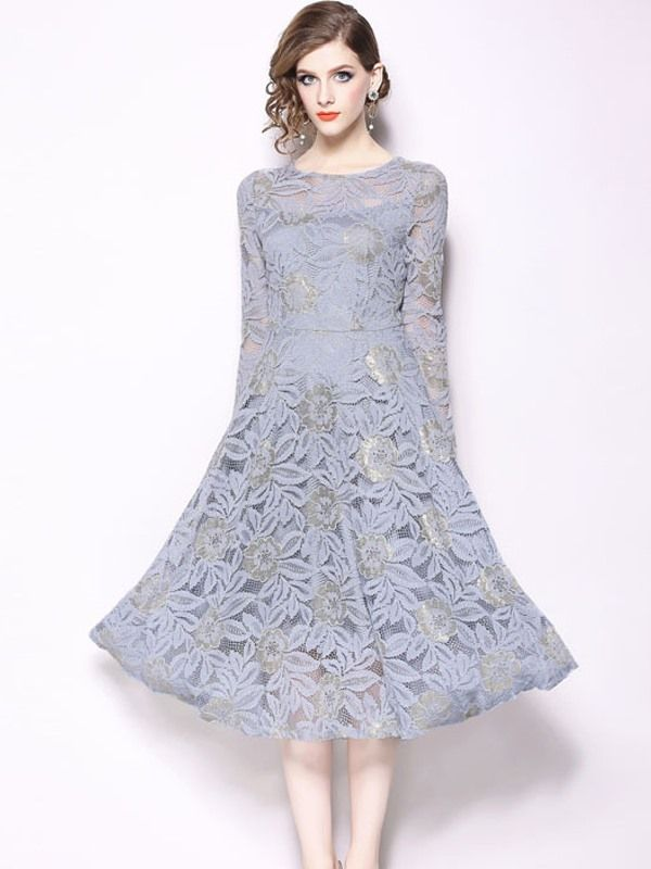 1356cece6b7 Vinfemass Elegant Solid Color Lace Party Skater Dress in 2019 ...