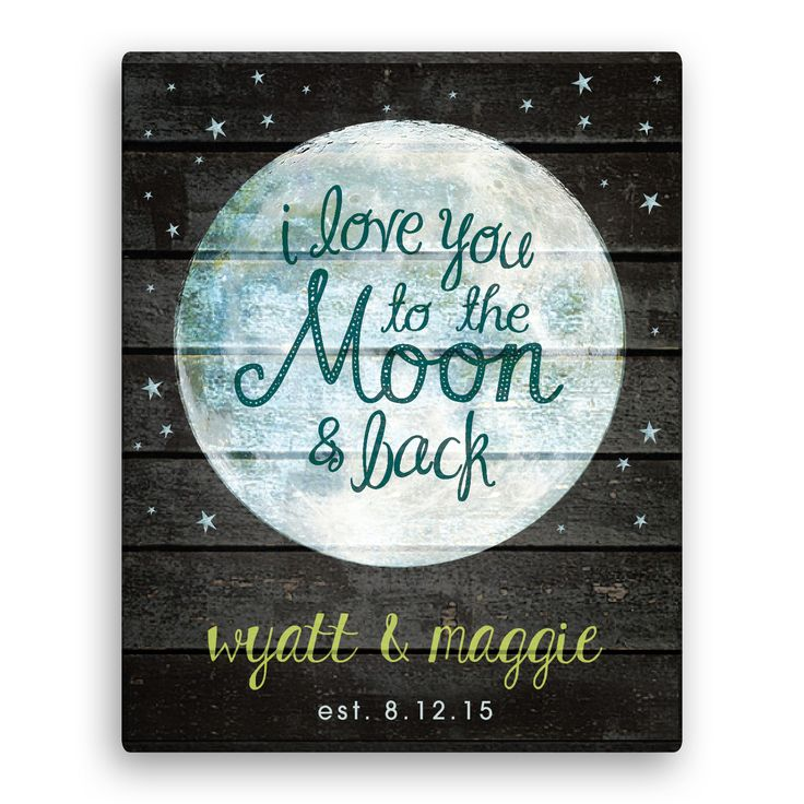 I love you to the moon and back 11x14 personalized canvas wall art