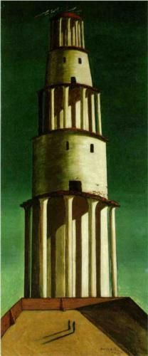 The Great Tower by Giorgio de Chirico, 1913. Cityscape. Kunstsammlung Nordrhein-Westfalen, Düsseldorf, Germany.