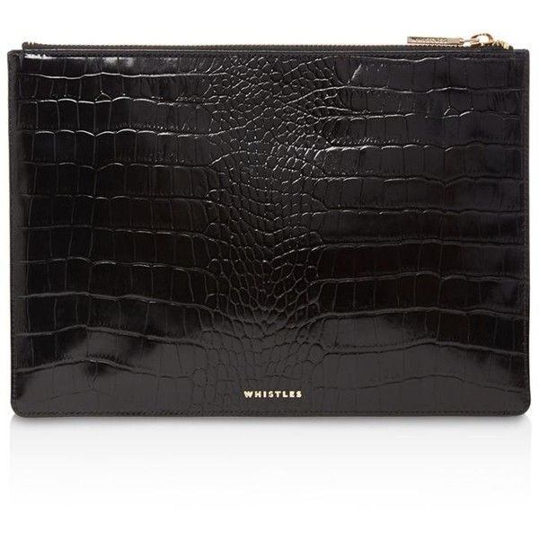 Whistles Shiny Medium Croc-Embossed Leather Clutch (8.410 RUB) ❤ liked on Polyvore featuring bags, handbags, clutches, crocodile embossed leather handbags, whistles handbags, whistles purse, croco embossed leather handbags and croc embossed leather handbags
