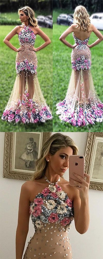 Unique Prom Dresses,tulle Prom Dress,appliqued Prom Dress With flower, long prom dress, formal Evening dress, evening dress for teens,Prom Dress,Backless Prom Dresses