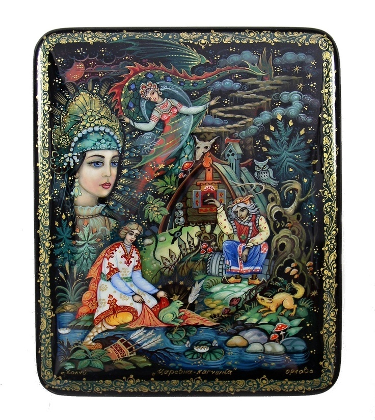 Magnificent Kholui Russian Lacquer Box 3625 Frog Princess