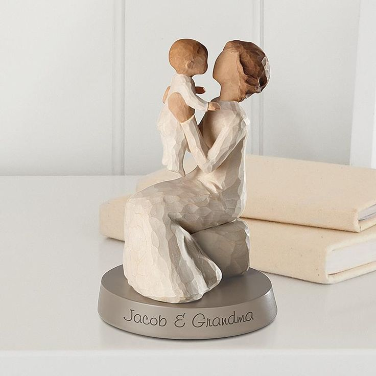 "Grandmother is ""A unique love that transcends the years"". This beautiful Willow Tree® figurine is designed by artist Susan Lordi. We personalize the base with any message on 1 line, up to 25 characters. Base is included, but not part of the Willow Tree line. Resin figurine measures 5 1/2""H and sits atop the resin base measuring 3/4""Hx4""W."