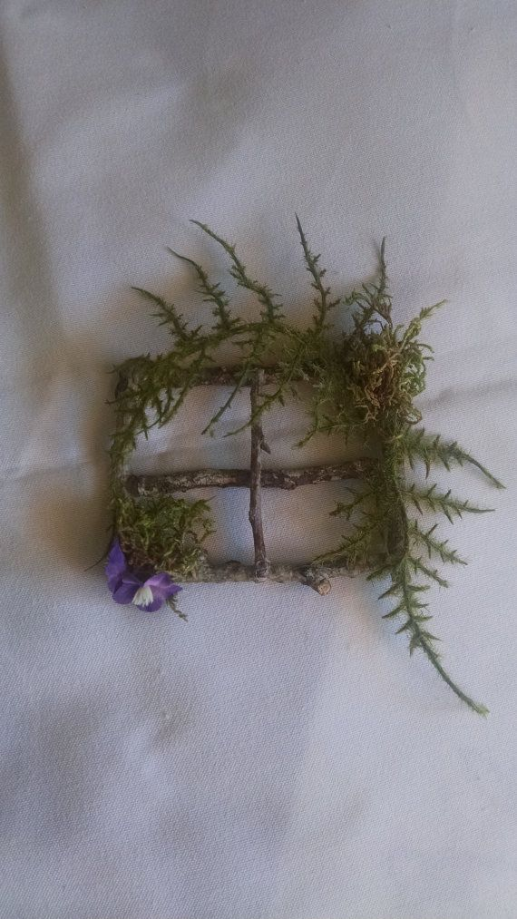 Very sweet little wooden window frame to put on your miniature home. Made of moss and real wood from our forest. Size: 3.5 wide and almost 3tall