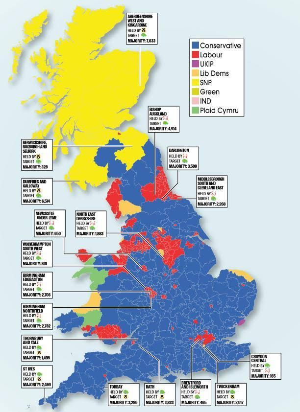 Our map shows the current political picture and the key battle areas that could change hands on June 8