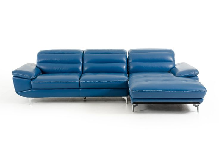 Modern Adjustable Headrests White Stitching Blue Leather Sectional Sofa