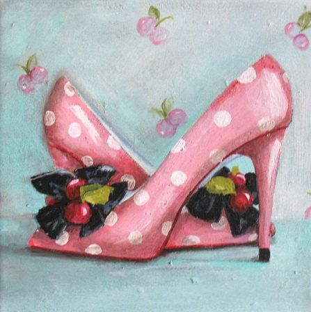 """Pink Cherry Heels""  original ooak canvas pink shoe art painting, free USA shipping.  via Etsy. SOLD"