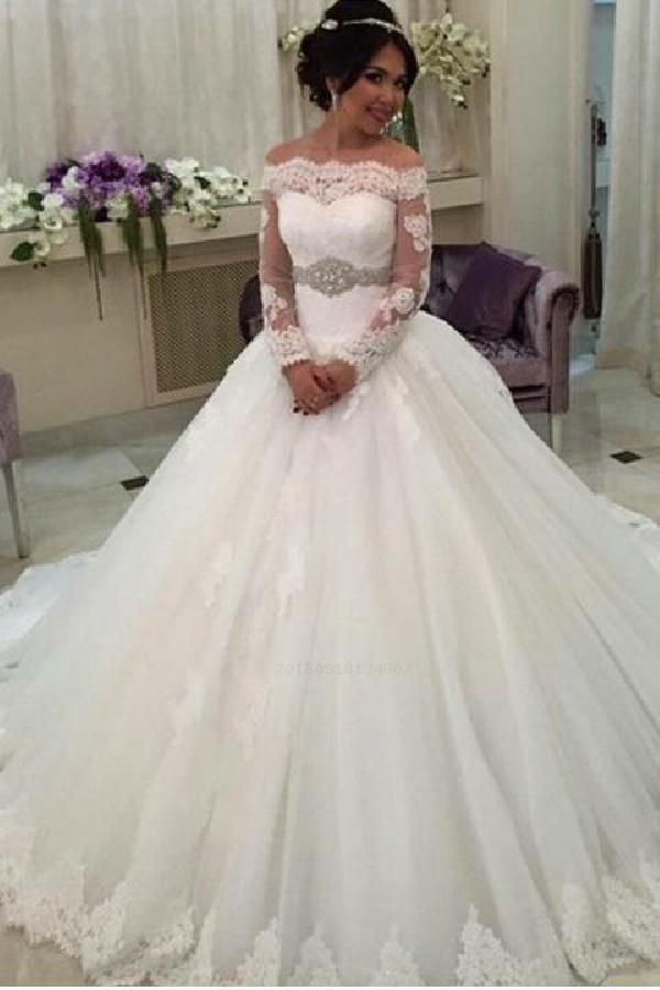 Sexy Wedding Dress Party Dresses Ball Gown Long Sleeves Party