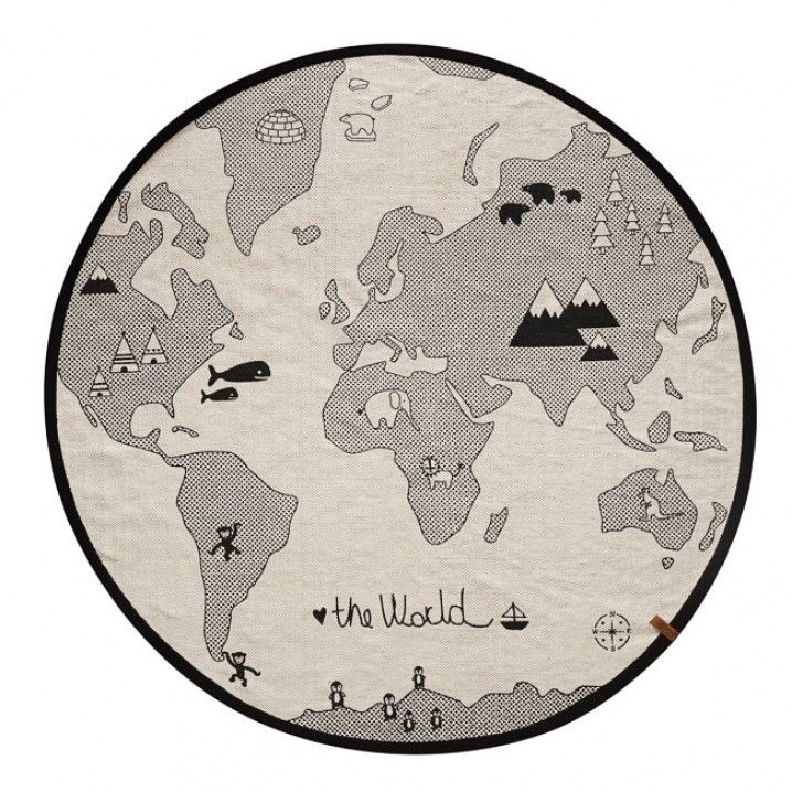 The World rug or play mat by by Danish design house OYOY.  For each sold item, OYOY donates to WWF to help saving Polar Bears.   Color: Off White/ Black  Size: D 135 cm Material: 100% Cotton, Woven and Hand printed   How to care: Spot clean only is recommended