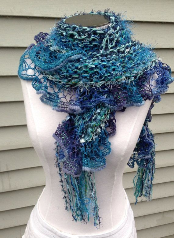 Blue hand knit multi yarn scarf, knitted blue, navy, turquoise, teal blue long fashion scarf, fuzzy blue soft knit ruffle scarf handmade