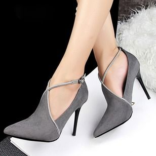 Women's Pumps Closed Toe Stiletto Heel Leatherette Shoes