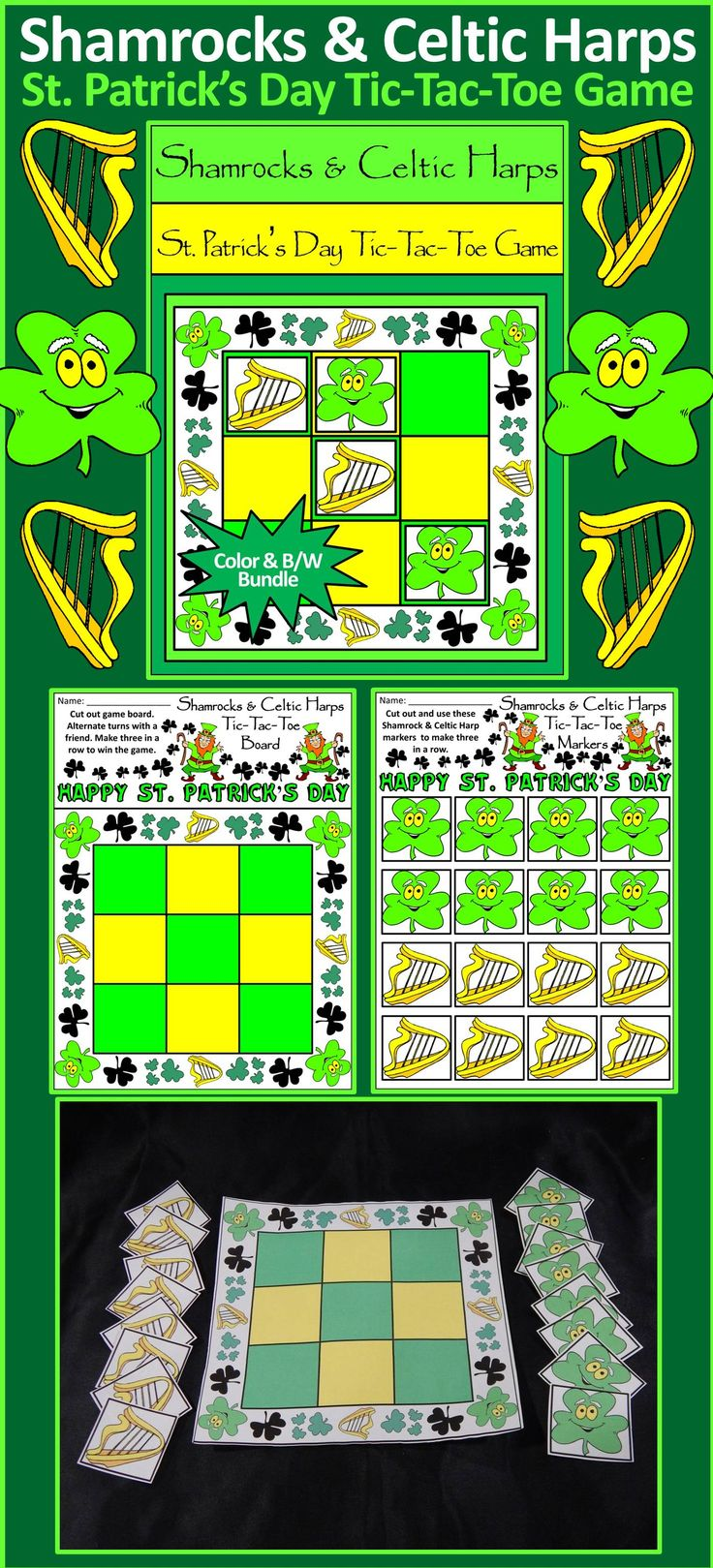 Shamrocks & Celtic Harps St. Patrick's Day Tic-Tac-Toe Game: Contains all the necessary components for playing the classic game. All pieces are decorated with Shamrocks & Celtic Harps for a rollicking Irish celebration! Great fun as a St. Patrick's Day game or party favor!  #St. #Saint #Patrick's #Day #Shamrock #Celtic #Harp #Party #Game #Activities #Teacherspayteachers
