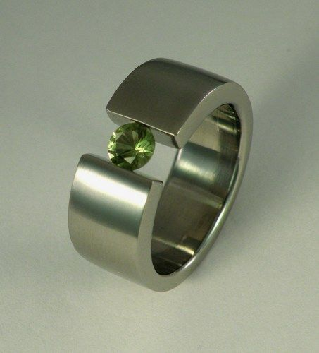 Classic Wide Genuine 1/2 Carat Green Sapphire Tension Set Brushed Ring