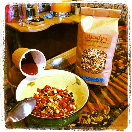 Welcome to Wednesday! How about organic Granola with raw cacao sauce and a bit of rice milk to get us started? You can buy the granola mix (400g for $13) or take a small cup away for $4.