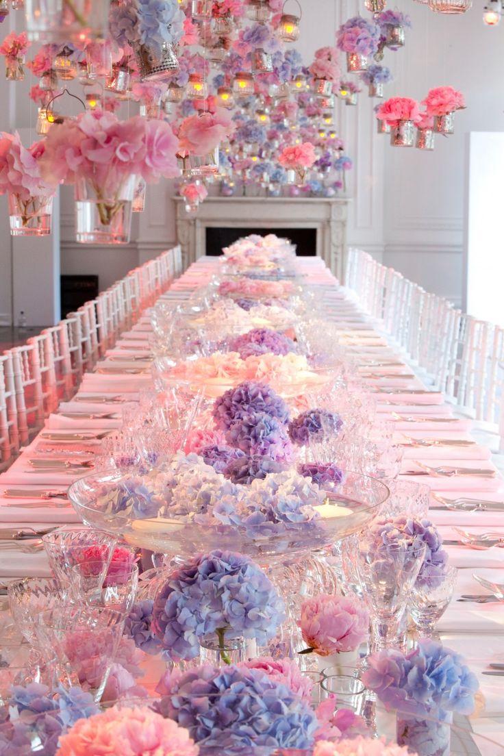 Fairytale dinner setting pink blue purple