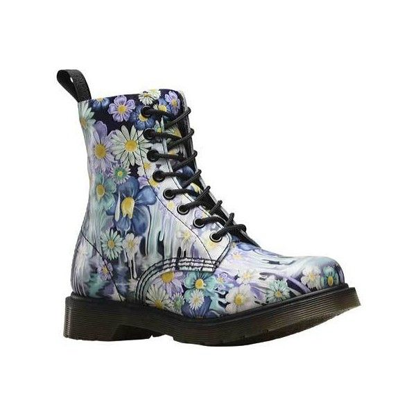 Women's Dr. Martens Slime Floral Pascal 8-Eye Boot - Purple Paint... ($150) ❤ liked on Polyvore featuring shoes, boots, casual, leather boots, genuine leather boots, military boots, leather combat boots, army boots and real leather combat boots