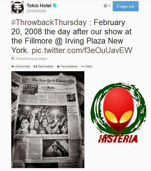 #ThrowbackThursday : 20 de fevereiro de 2008, o dia após o nosso show no Fillmore @ Irving Plaza New Yor  Read more: http://tokiohotelhysteriapt.blogspot.pt/2014/03/facebook-twitter-tokio-hotel-06032014.html#ixzz2vVefNjjv