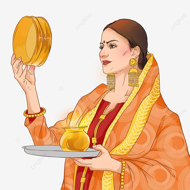 Karwa Chauth Kartika Traditional Indian Festival Woman Watching The Moon Karwa Chauth Kartika Woman Png Transparent Clipart Image And Psd File For Free Downl Indian Festivals Custom Illustration Custom Watercolor
