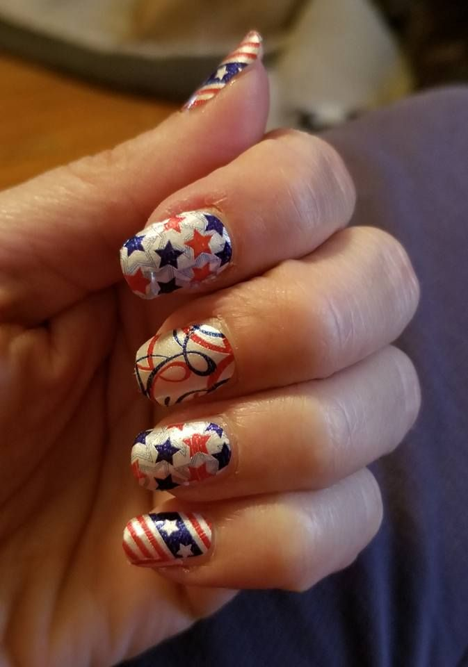 Product Fds469 Miss Stars Stripes This Shimmery Red White And Blue Nail Art Design Of Streamers Is Perf