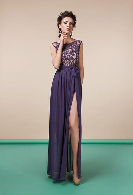 Вечернее платье из кружева с разрезом   Dress in lace with cut out