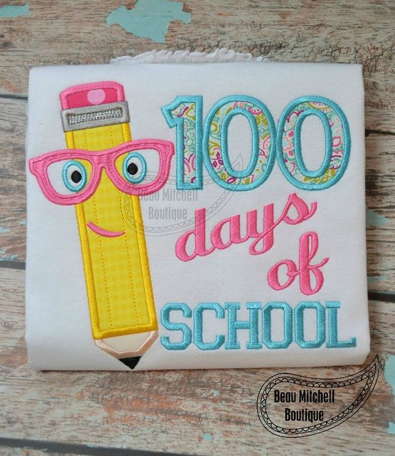 100 Days of School Pencil applique by BeauMitchellBoutique on Etsy