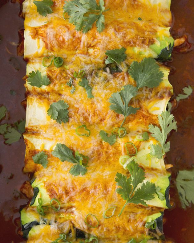 Zucchini Chicken  Enchiladas ~  A healthy-ish take on the classic enchilada minus the tortilla and carbs by swapping in sheets of zucchini made with @KitchenAidUSA #MoreThanAMixer #ForTheMaking