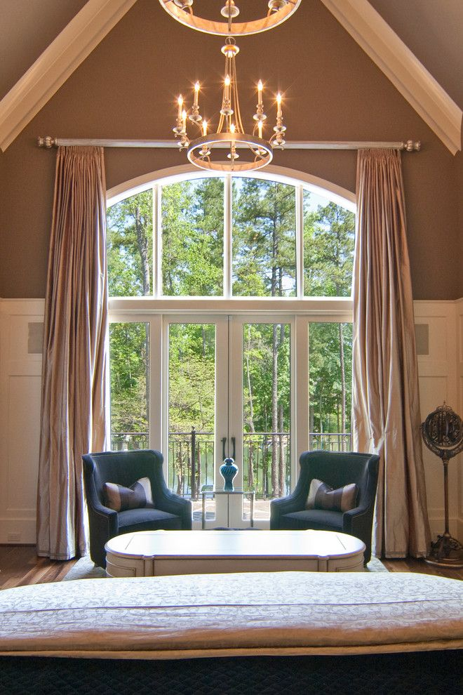 arched window treatments Bedroom Traditional with arched transom window cathedral ceiling silk curtains