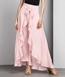 Pink Chiffon High-Waist Ruffle Palazzo Pants