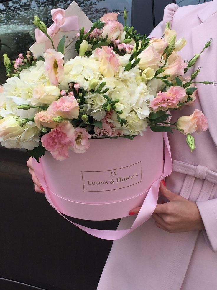 Flowers in box!  Lisianthus, hydrangea, freesia  Букет в коробке. Лизиантус, гортензия, фрезия