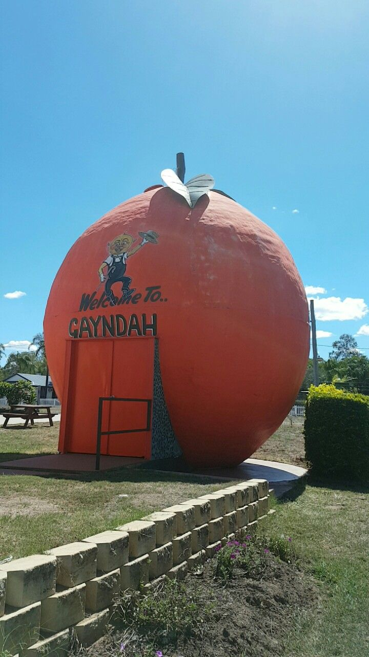 The Big Orange in Gayndah, Qld. Gayndah is the oldest town in Queensland and also home to Queensland's oldest pub.