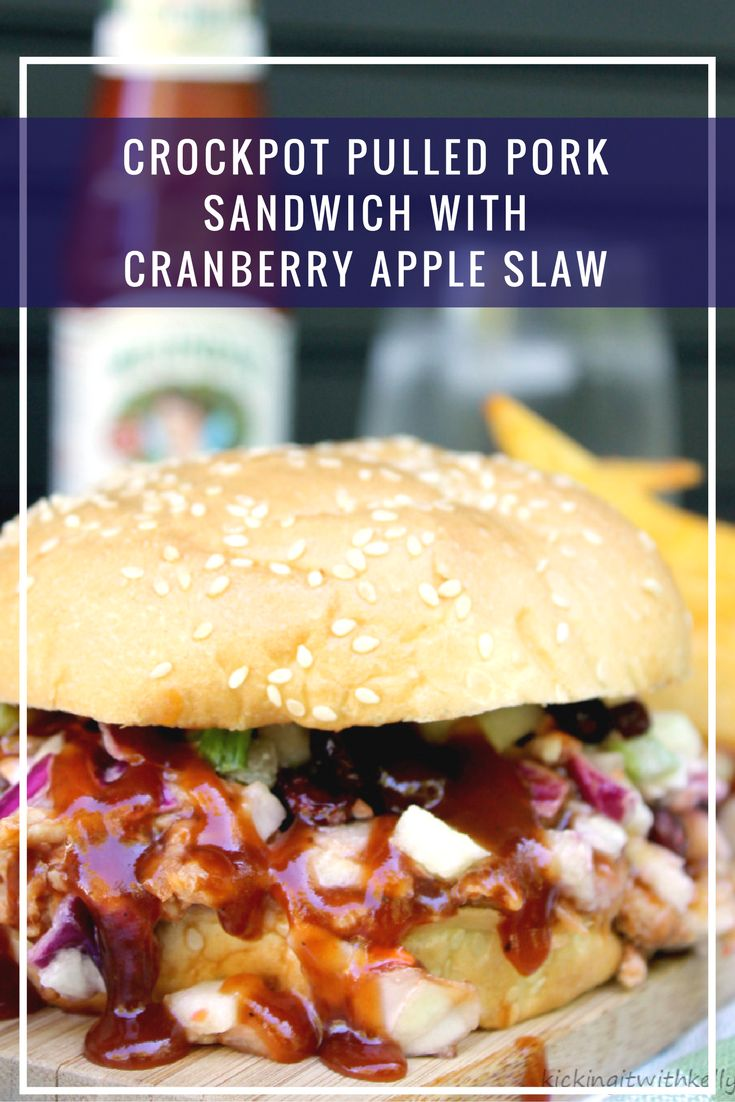 Crockpot Pulled Pork Sandwich With Cranberry Apple Slaw ...
