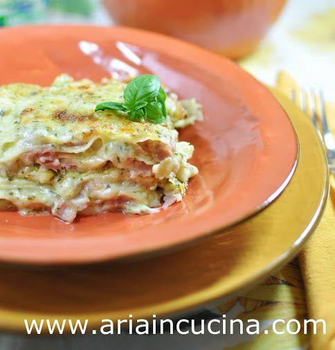 Blog di cucina di Aria: Lasagne con pesto leggero, mozzarella e prosciutto...