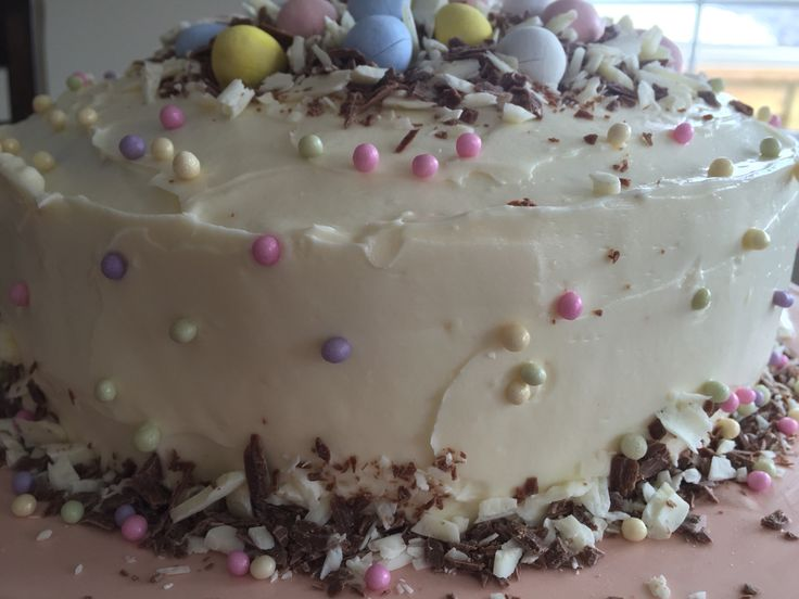 "Easter Banana-Chocolate Cake with Cream Cheese Frosting Adapted from ""Bake With Anna Olson"".  The Food Network."
