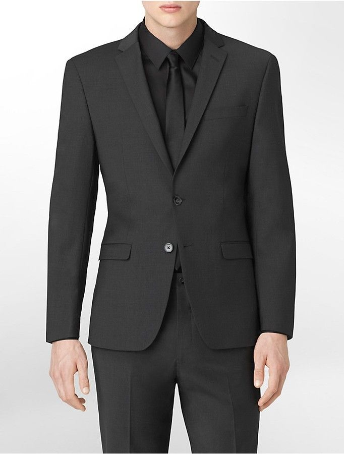 $425, Calvin Klein X Fit Ultra Slim Fit Charcoal Suit Jacket. Sold by Calvin Klein. Click for more info: https://lookastic.com/men/shop_items/292348/redirect