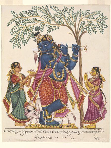 Krishna in his form as Venu-Gopala, fluting beneath the kadam tree, Trichinopoly, India, 1825