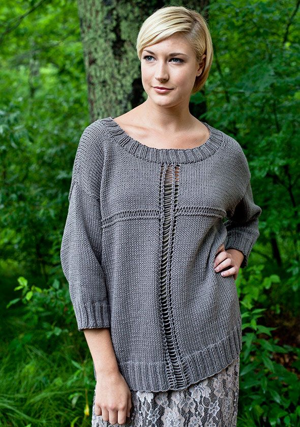 Berroco® Free Pattern | Rabbet.  Knit this oversized pullover with 3/4 sleeves and openwork detailing now - wear it in September!