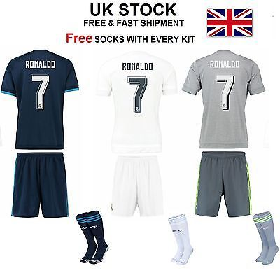 New kids boys football kit kits with socks #soccer #girls ronaldo real #madrid ,  View more on the LINK: 	http://www.zeppy.io/product/gb/2/201597408907/