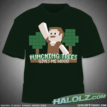 Punching trees gives me wood.