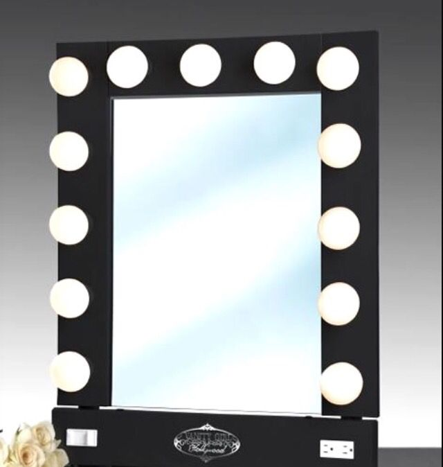 Lighted Vanity Mirror With Storage : a vanity isn't a real vanity without a light up mirror!? new bedroom!!!!!!!!!!? Pinterest ...