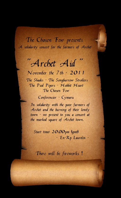The official Scroll for the Arhcet Aid event.