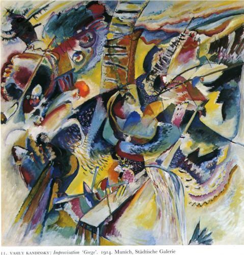 """""""Improvisación quebrada"""" (1914). VASSILY KANDINSKY (1866 - 1944) . Artista ruso precursor de la llamada """"Abstracción lírica"""". Interesado en la teosofía, entendida como la verdad fundamental que subyace detrás de doctrinas y rituales en todas las religiones del mundo; la creencia en una realidad esencial oculta tras las apariencias, proporciona una obvia racionalidad al arte abstracto ..."""