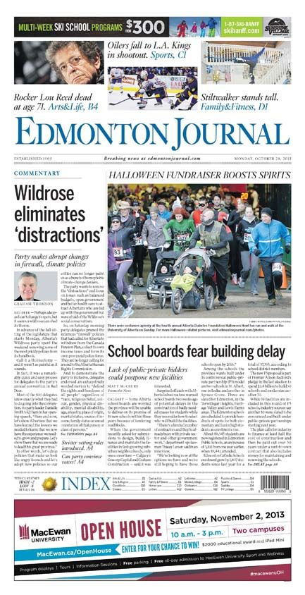 Wildrose AGM makes front page Monday, Oct. 28, 2013 #ableg #wrp #alberta
