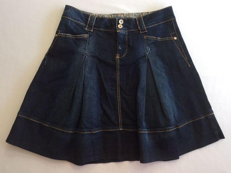 Benetton Short Jean Skirt Pleated Flare Denim Distress Pockets Sz 44 US Sz 8 New #UnitedColorsofBenetton #Pleated